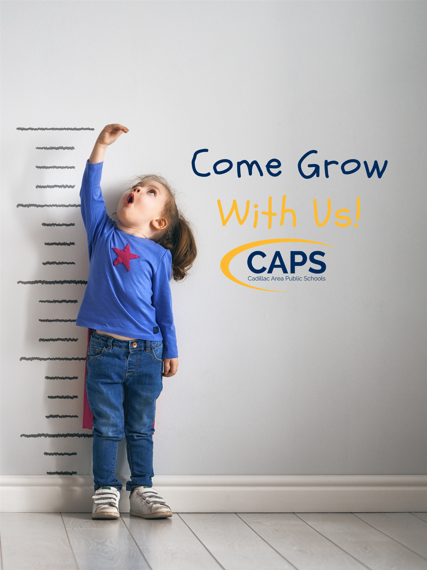 Come Grow with Us little girl and caps logo