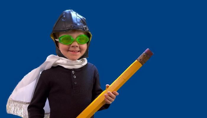 Aviator Boy with pencil