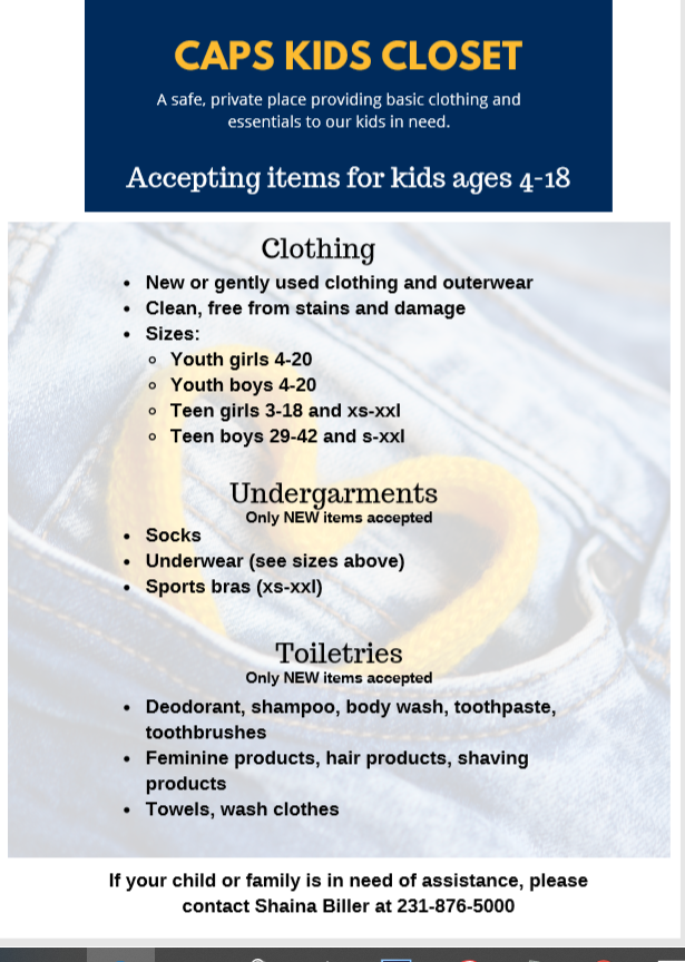 Kids closet is taking clothing, undergarments and new toiletries