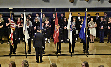 Color Guard Presents the Flag at the Vet Assembly