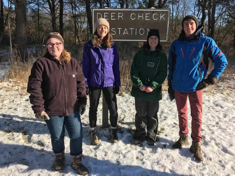 students at Deer Check station